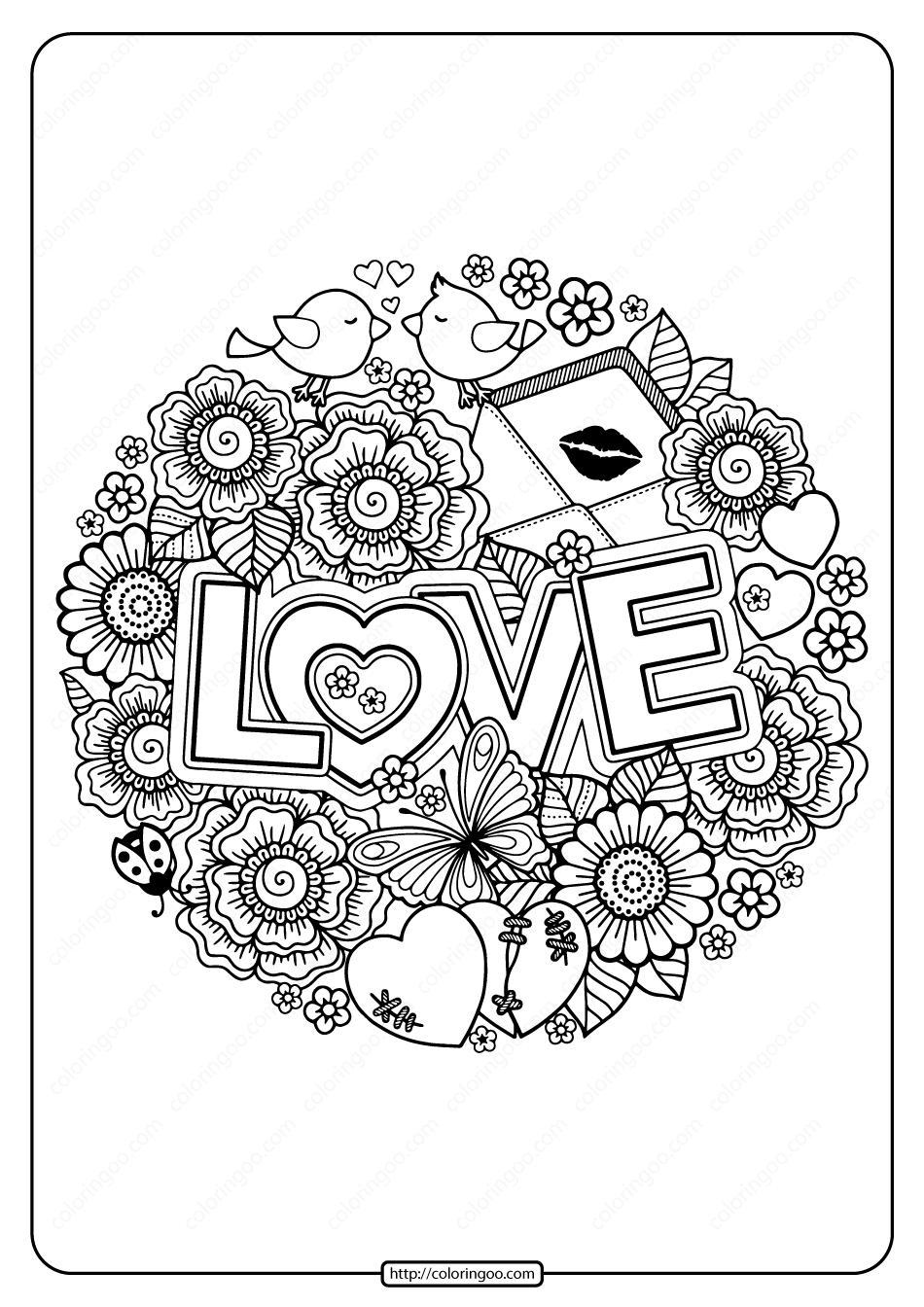 Free Printable Love Circle Pdf Coloring Page