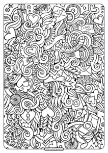 Free Printable Love Doodle Pdf Coloring Page