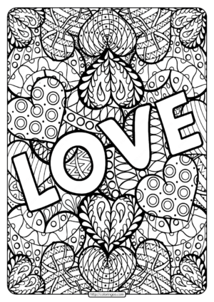 Free Printable Love Pdf Coloring Page