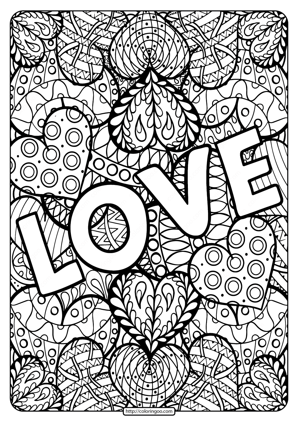 Free Printable Love Pdf Coloring Page