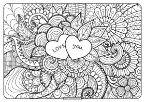 Free Printable Love You Zentangle Pdf Coloring Page