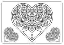 Free Printable Mandala Hearts Pdf Coloring Page