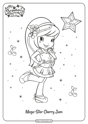 Free Printable Mega Star Cherry Jam Coloring Page