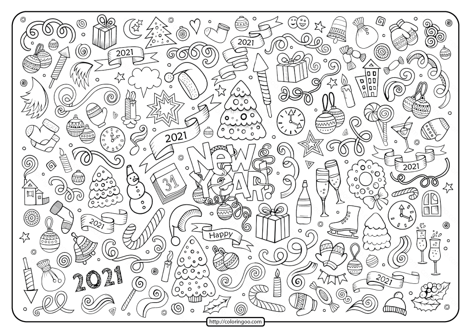 Free Printable New Year 2021 Doddle Coloring Page