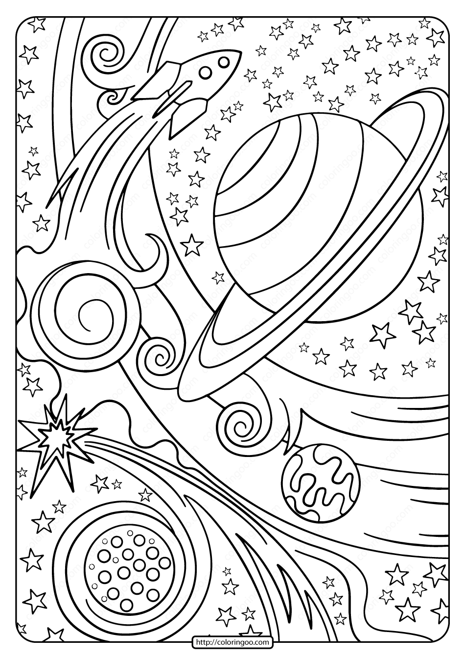 Free Printable Rocket and Planets Pdf Coloring Page