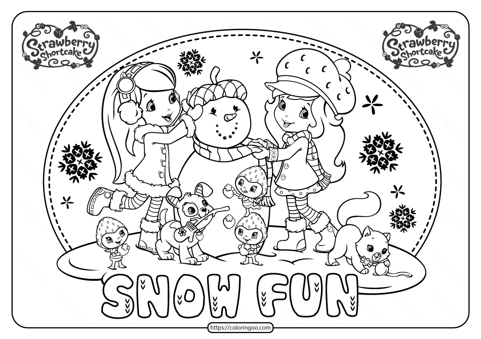 Printable Snow Fun Strawbery Shortcake ColoringPage