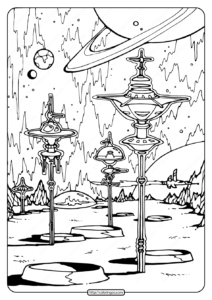 Free Printable Space City Pdf Coloring Page