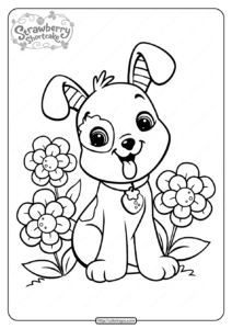 Free Printable Strawberry Pupcake Coloring Page