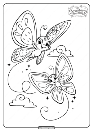 Printable Strawberry Shortcake Butterflies Coloring