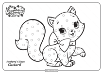 Strawberry's Cute Kitten Custard Pdf Coloring Page