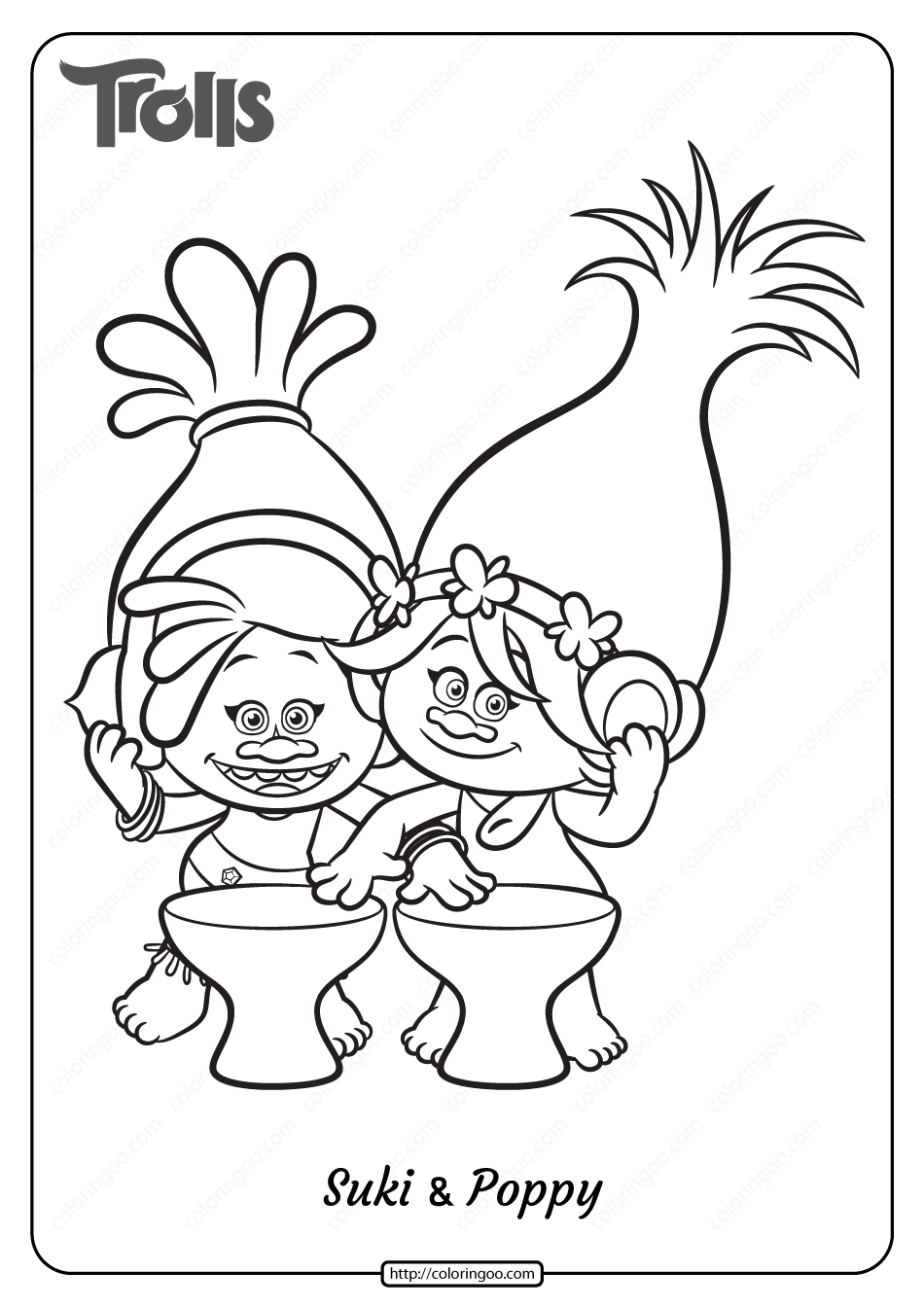 Free Trolls Suki and Poppy Pdf Coloring Page