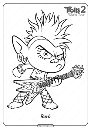 Free Printable Trolls 2 Queen Barb Pdf Coloring Page