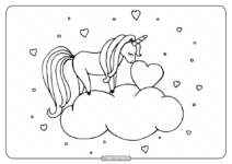 Free Printable Unicorn Nuzzles Heart Coloring Page
