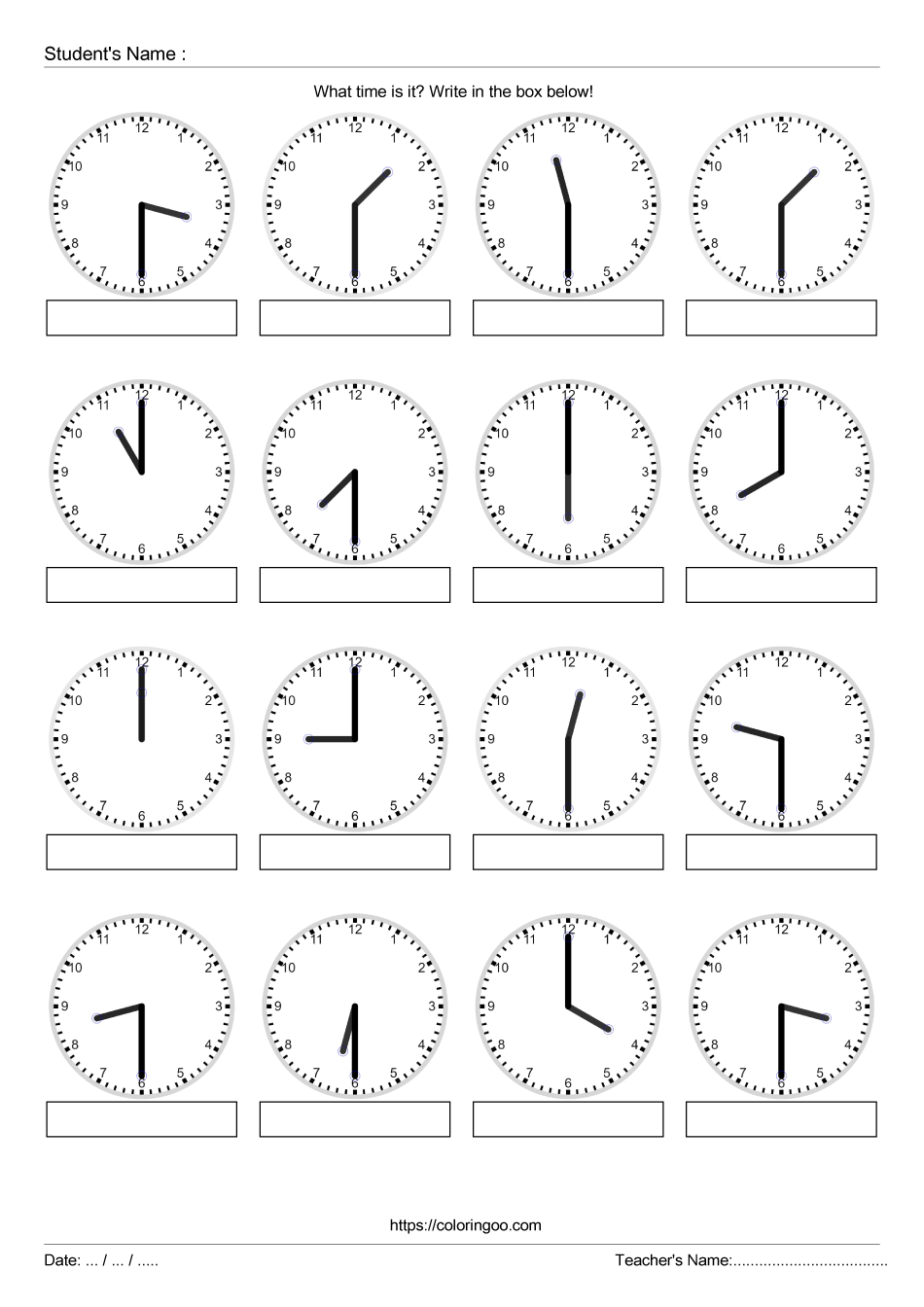 Free Printable What Time Is It Exercise Worksheet 01