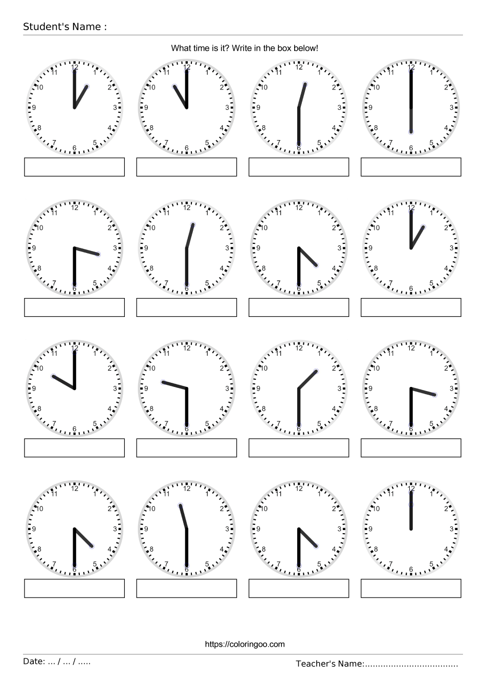 Free Printable What Time Is It Exercise Worksheet 03