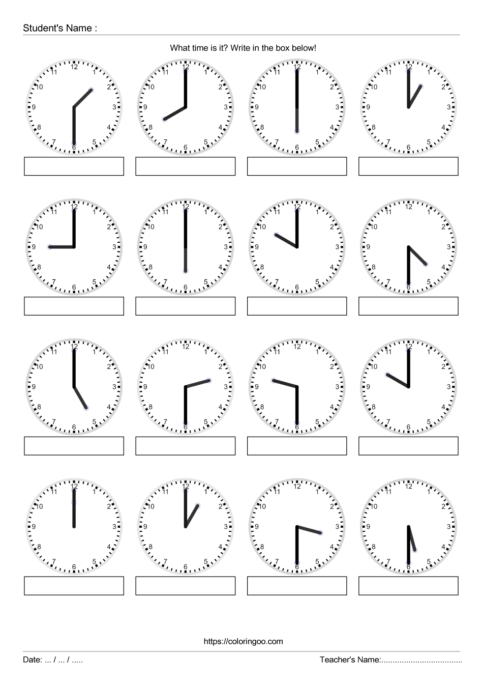 Free Printable What Time Is It Exercise Worksheet 04
