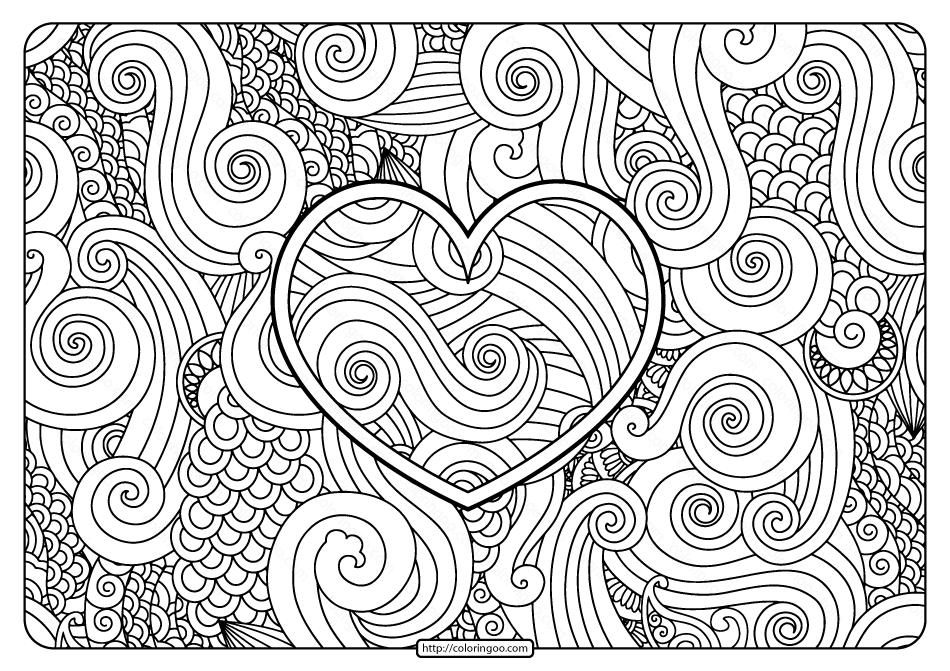 Free Printable Zentangle Heart Pdf Coloring Page