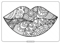 Free Printable Zentangle Lips Pdf Coloring Page