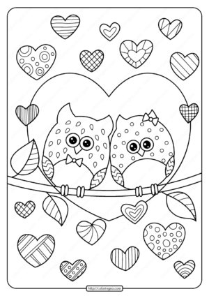 Owls in Love with Hearts Pdf Coloring Page