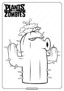 Free Plants vs Zombies Cactus Pdf Coloring Page