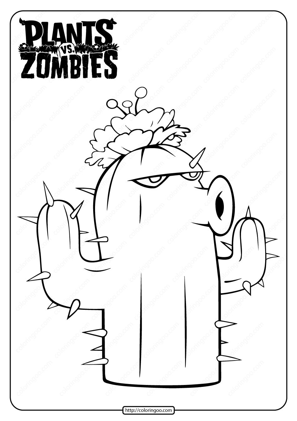 Free Plants vs Zombies Cactus Pdf Coloring Page