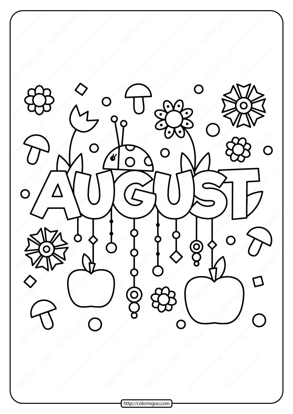 Printable August Pdf Coloring Page