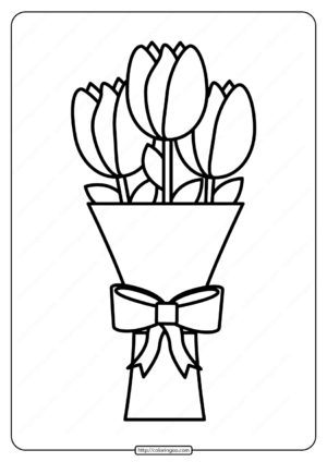 Printable Bouquet of Tulips Pdf Coloring Page