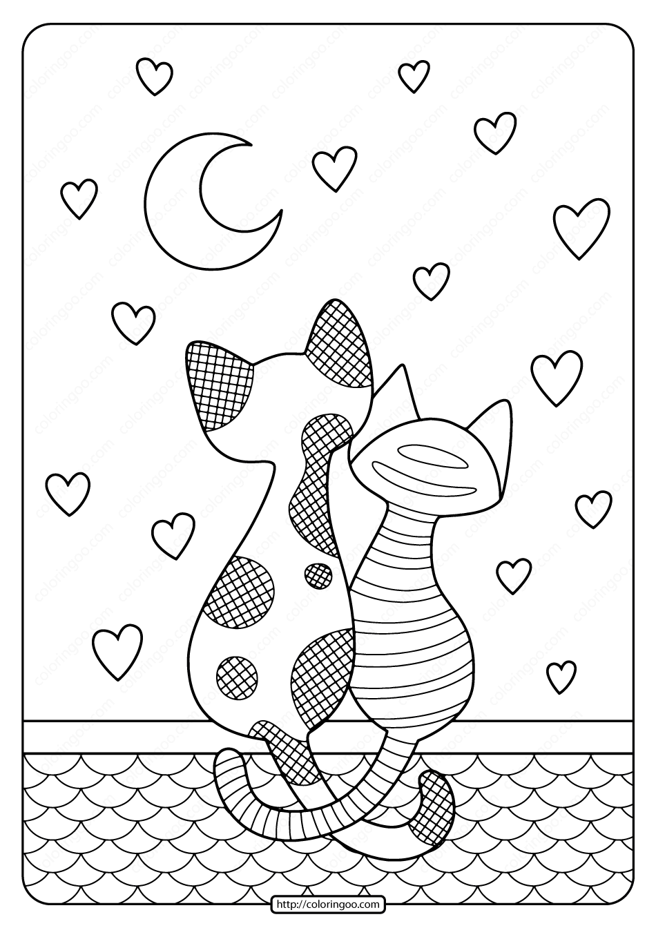 Printable Cats in Love Pdf Coloring Page