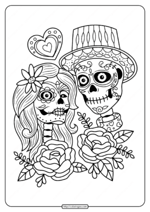 Printable Day of the Dead Couple Pdf Coloring Page