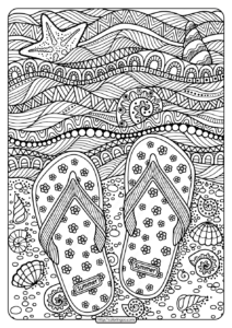 Printable Flip Flops on Beach Pdf Coloring Page