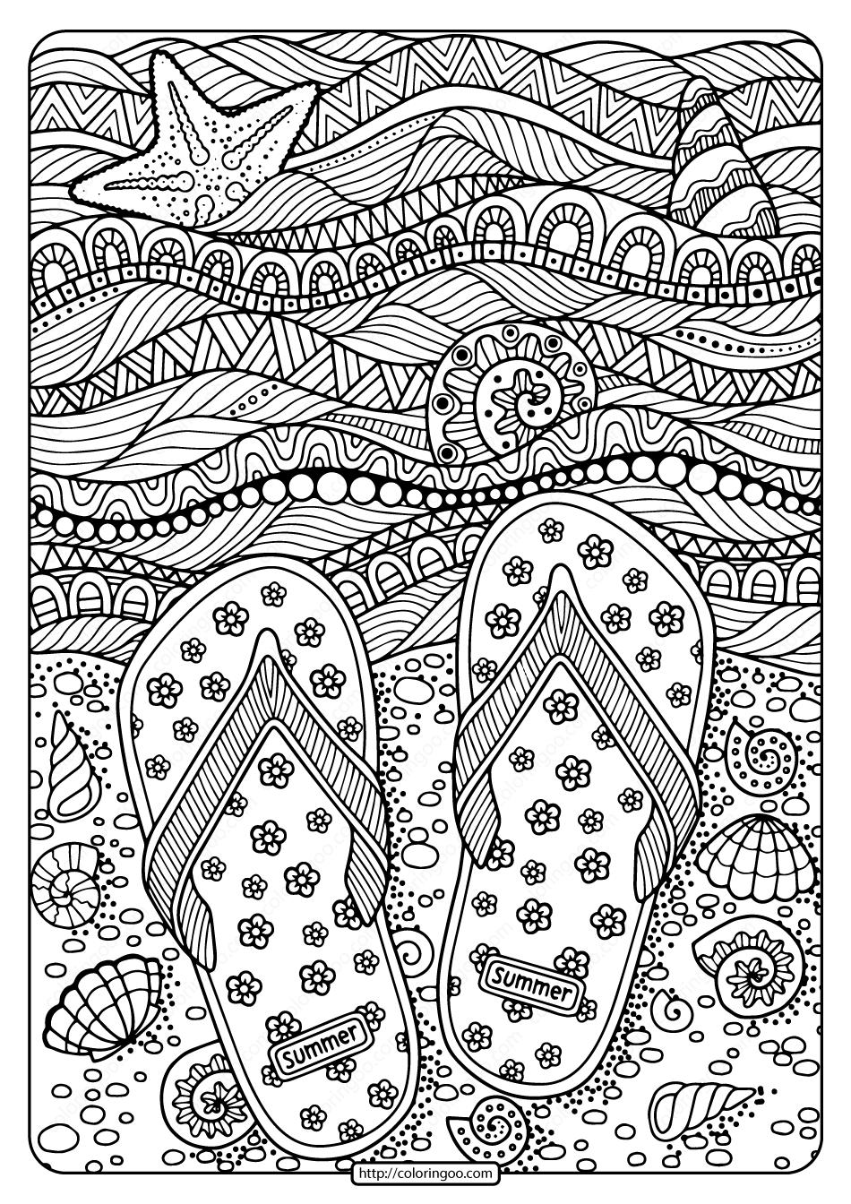Printable Flip Flops on Beach Pdf Coloring Page