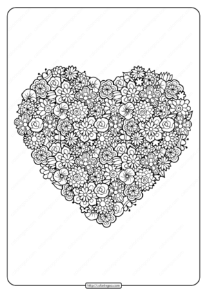 Printable Floral Heart Pdf Coloring Page