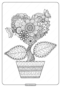 Printable Heart Flower Pdf Coloring Page