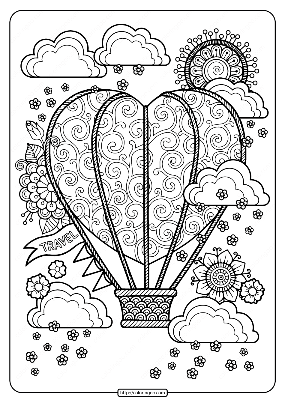Free Heart Shaped Hot Air Balloon Pdf Coloring Page