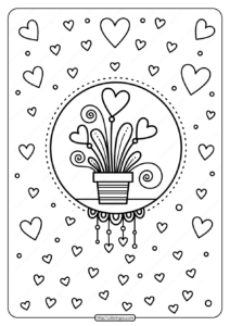 Printable Hearts in Flower Pot Pdf Coloring Page
