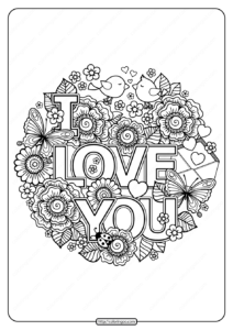Printable I Love You Pdf Coloring Page