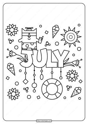Free Printable July Pdf Coloring Page