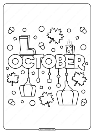 Free Printable October Pdf Coloring Page