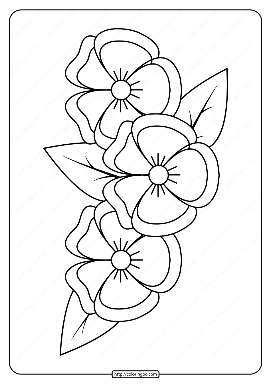 Free Printable Pansies Pdf Coloring Page