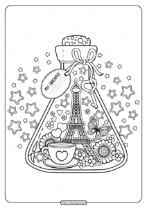 Printable Paris City of Love Pdf Coloring Page