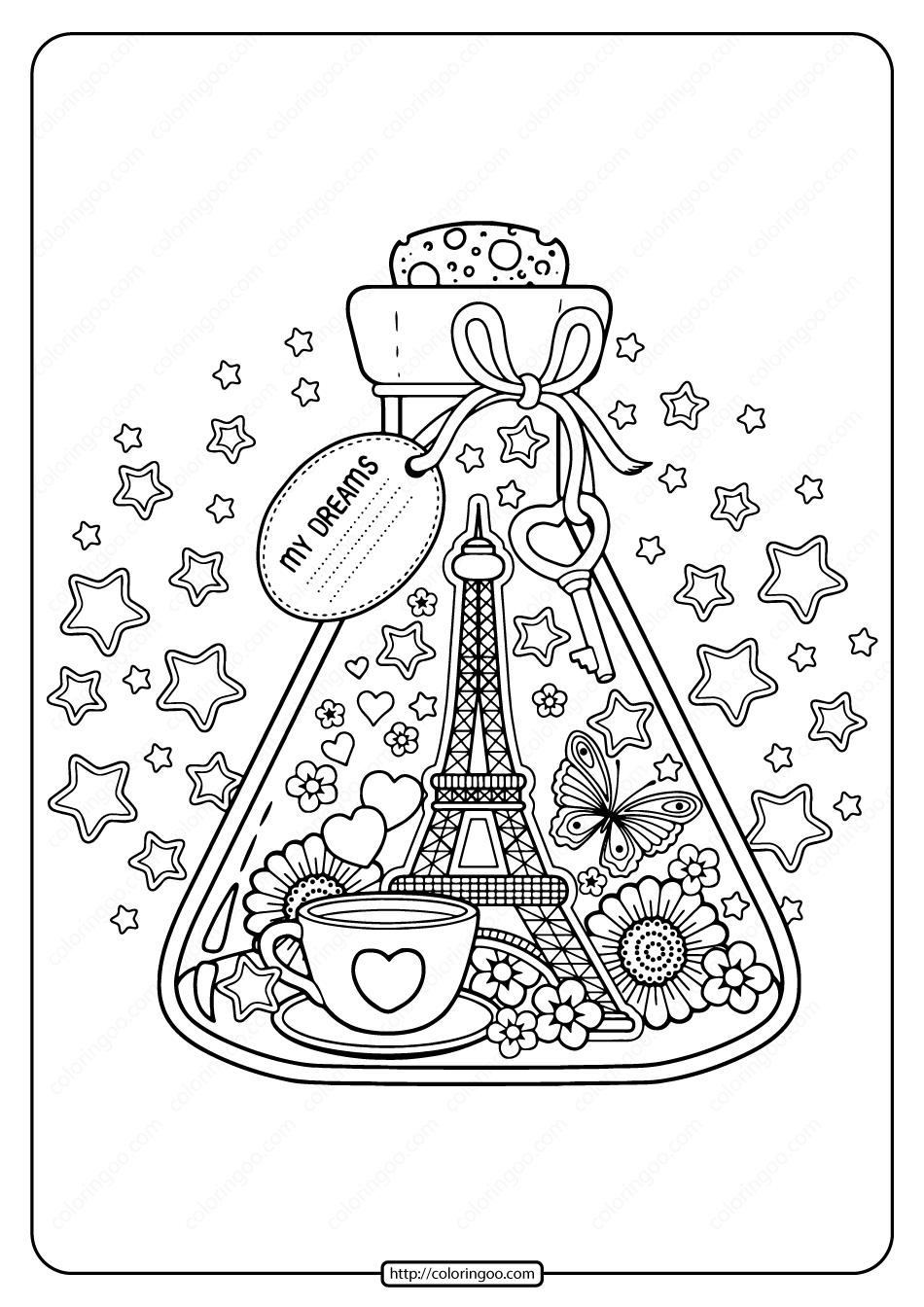 Printable Paris City of Love Pdf Coloring Page