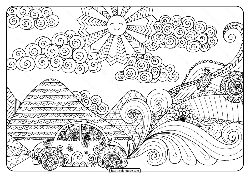 Printable Summer Road Trip Pdf Coloring Page