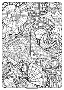 Printable Summer Sea Pdf Coloring Page