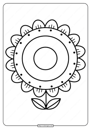 Printable Sunflower Pdf Coloring Page