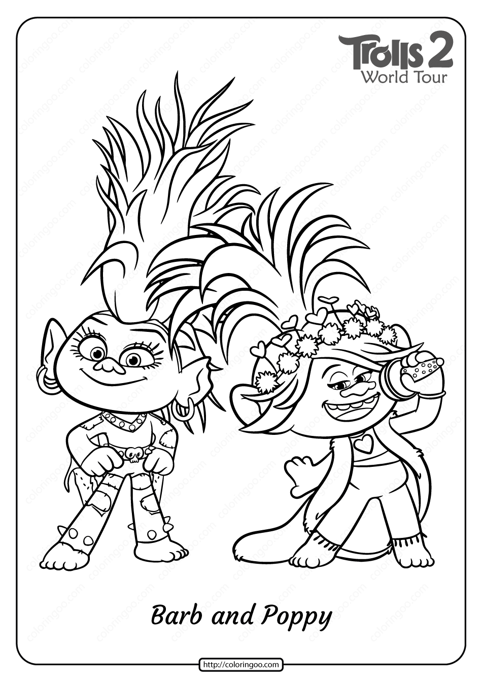 Printable Trolls 2 Barb and Poppy Pdf Coloring Page
