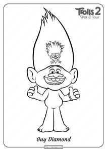 Free Printable Trolls 2 Guy Diamond Coloring Page