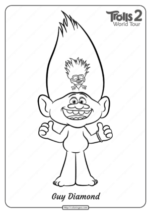 Free Printable Trolls 2 Guy Diamond Coloring Page