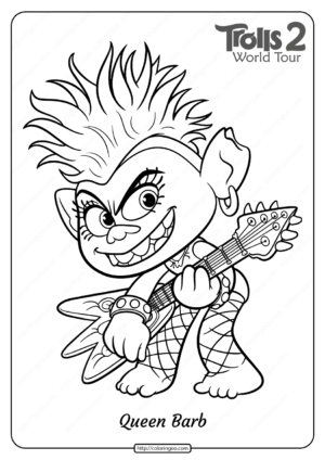 Free Printable Trolls 2 Queen Barb Coloring Page