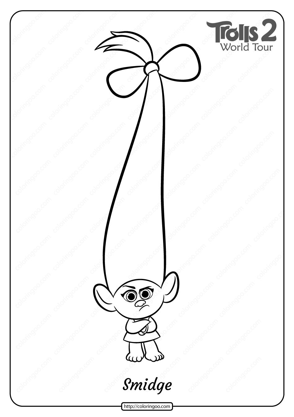 Free Printable Trolls 2 Smidge Pdf Coloring Page