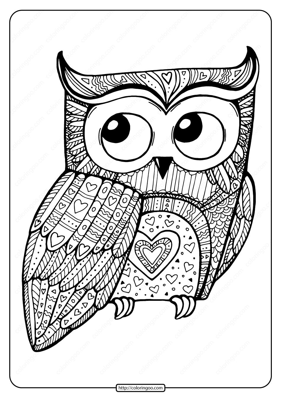 Printable Valentine Owl Pdf Coloring Page